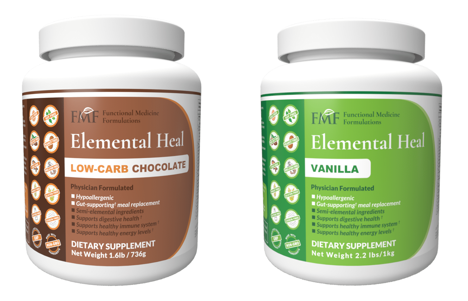 Two bottles of dietary supplements against a white background